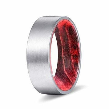 CAMEO Flat Silver Brushed Tungsten Ring with Black Red Box Elder Wood Sleeve 8mm