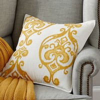 Pelham Ikat Embroided Pillow Cover