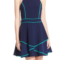 Adelyn Rae Piped Crepe Fit & Flare Dress | Nordstrom