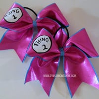 Thingy 1 and Thingy 2 PINK Large Cheer Bow Hair Bow Cheerleading