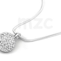 Lowest Price! white ball Crystal Shamballa Necklace Silver plated Jewelry Rhinestone Disco Crystal Bead Necklace women jewelry Gift