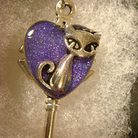 Cat Heart Key Necklace in Antique Silver- Galaxy Color Background (2257)