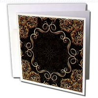 Bev Newcomer Florals and Swirls - Elegant Gold Design on a dark chocolate brown damask background - 6 Greeting Cards with envelopes (gc_113827_1)