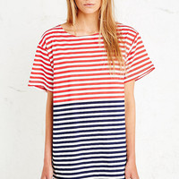 Vintage Renewal Russian Stripe Dress in Red and Blue - Urban Outfitters
