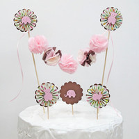 Baby Shower Birthday Cake Topper Pom Garland Brown and Pink