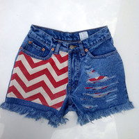 GIRLS Chevron Red Distressed Jean Shorts Razorbacks