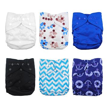Babygoal Cloth Diaper Covers,Baby Adjustable Reusable Clothes Covers for Fitted Diapers and Prefolds, 6pcs Covers+One Wet Bag Boy Color 01 One Size