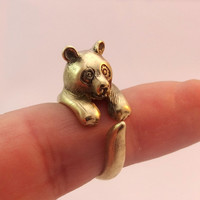 STUNNING Unique Pure Golden Brass Panda Ring COOL Animal Ring Cute Jewellery Best Selling Animal Jewelry Sizes - 3, 4, 5, 6, 7, 8, 9