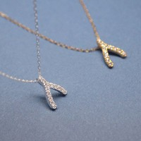 PAVE SWAROVSKI WISHBONE NECKLACE IN 925 STERLING SILVER -GOLD / SILVER