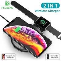 FLOVEME 2 in 1 Wireless Charger for iPhone X XR XS Max 8 for Apple Watch 4 3 2 1 Fast Charging Qi Charger for Samsung S10 S9 S8