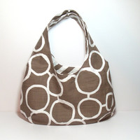 Brown Hobo Bag, Reversible Hobo Bag, Chevron Hobo Bag, Hobo Purse, Reversible Purse, Hobo Sling Bag, Medium Hobo Bag, Sling Purse Hobo