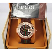 "Hot Sale ""GUCCI"" Popular Women Men Movement Diamonds Business Watches Wristwatch Brown I/A"