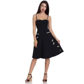 Bee Embroidered Flared Dress