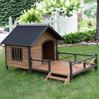 Boomer & George Lodge Dog House with Porch - Large | www.hayneedle.com