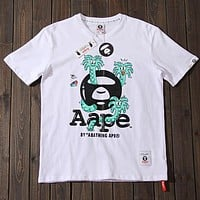 Bape Aape×Steven Harrington Trending Stylish Print Round Collar Pure Cotton T-Shirt Top White