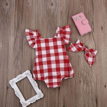 Toddler Baby Girl Red Checker One Piece Bodysuit Onesuit with Bow Knot Headband | 0-18 Months