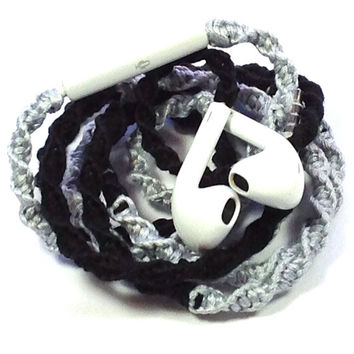 Bling on Black MyBudsBuzz Wrapped Headphones Tangle Free Earbuds Your Choice of Headphones