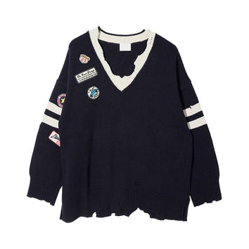 Pre-Damaged Patch Detail Sweater