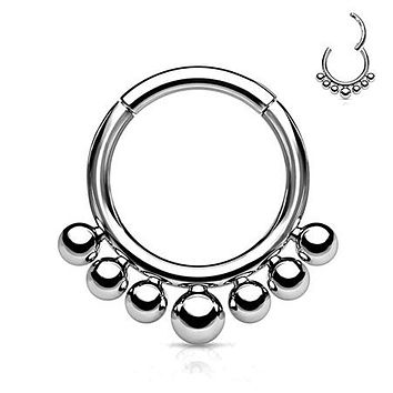 Implant Grade Titanium Bali Beads Clicker Hoop Ring