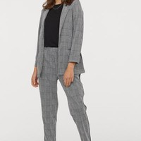 Ankle-length Pull-on Pants - Black/checked - | H&M US