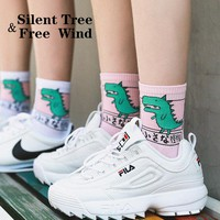 Japanese Harajuku Women Dog Dinosaur Shiba Cat Cotton Cartoon Socks Funny Cute  Unisex White Pink Animal Skateboard Daily Socks