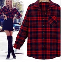 Plaid Long-Sleeve Collar Button Dress Shirt With Pocket