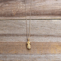 14k Gold Plated Pineapple Necklace on 16 Inch Chain
