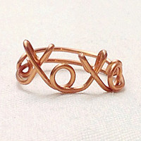 Custom Wire xoxo Ring (MADE TO ORDER) Hugs and Kisses, Love Ring, Silver Ring, Gold Ring, Copper Ring, Customizable Ring, Personalized Ring