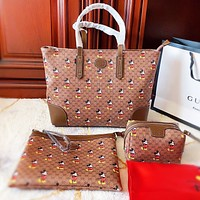 GUCCI x Disney Mickey Mouse Women Shopping Bag Leather Handbag Tote Shoulder Bag Satchel Wallet Set Three Piece