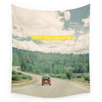 Society6 NEVER STOP EXPLORING Vintage Volkswagen Wall Tapestry