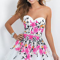 Short Neon Floral Embroidered Homecoming Dress by Blush