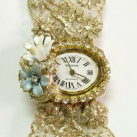 Vintage ladies Rhinestones watch Gold trim band Flowers retro upcycled ladies watch