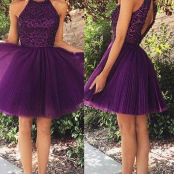 Purple Beading Homecoming Dress Short Halter Cocktail Dress
