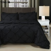 Cool New European and American fashion simple style home textile black white gray solid color bedding set Queen King 3PCS beddingAT_93_12