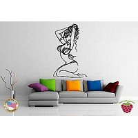 Wall Stickers Vinyl Decal  Sketch of Hot Curvy Girl in Bikini Curly Hair Unique Gift EM529