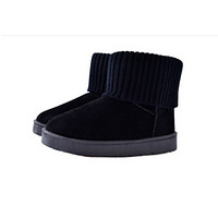 Winter new cashmere thick bottom boots snow boots women fashion low tube warm female boots Black