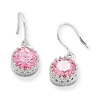 Round Pink Cubic Zirconia French Wire Earrings