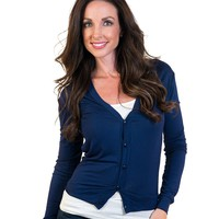 Short Button Front Cardigan - Navy (Special Offer)