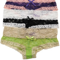 """Kat"" Two Tone Lace Cheeky Panties - Black/White, Purple/Pink or Lime/Ivory"