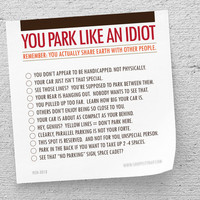 "Funny Sticky Notes, White Elephant Gift, ""You Park Like An Idiot"" (NSN-X018)"
