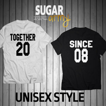 Together since shirts, together since jerseys, Newlywed Couples T-Shirts, Anniversary Wedding Gift Idea, Matching Tees for Lovebirds