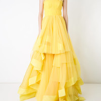 Isabel Sanchis Strapless Pleated Ballgown - Farfetch