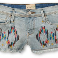 Roxy Embroidered Light Wash Denim Cut Off Shorts