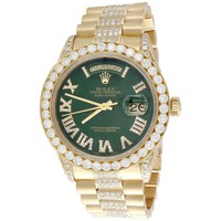 18K Gold 36mm Rolex President Day-Date Diamond Watch w/ Green Dial (18038) - 10.27 CT.