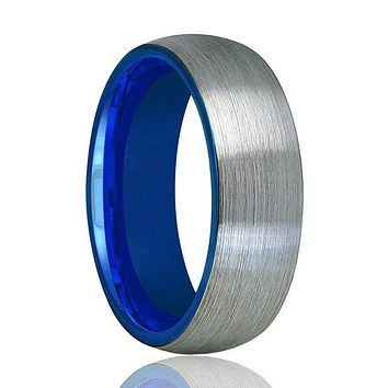 Domed Tungsten Wedding Ring With Blue Inside & Brushed Finish 4mm - 8mm