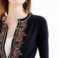 Embroidered cotton Jackie cardigan sweater