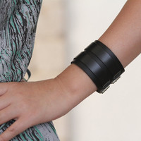 Chunky Leather Bracelet with Double Buckles, Chunky Leather Cuff with Double Buckles. B007