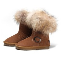 ZLYC Ladies' Fox Fur Trimmed Leather Flat Mid Calf Boots