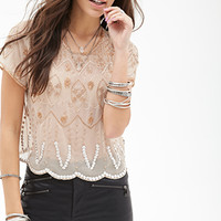 FOREVER 21 Sheer Beaded Blouse Nude
