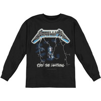 Metallica Men's  Ride The Lightning  Long Sleeve Black Rockabilia